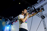 Say Anything performs during the Sungod Festival at UC San Diego in San Diego, California on May 16, 2008.