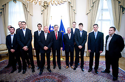 Jure Zdovc, Miro Alilovic, Mario Kraljevic, Goran Jagodnik, Domen Lorbek, Dusan Sesok, Danilo Turk, Iztok Rems, Uros Slokar, Jaka Klobucar, Tomo Mahoric and Matej Avanzo of Slovenian basketball national team after Eurobasket 2009 at reception at president of Slovenia dr. Danilo Türk,  on September 28, 2009, in Presernova 8, Ljubljana, Slovenia.  (Photo by Vid Ponikvar / Sportida)