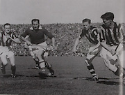 Kilkenny's Jimmy Heffernan, Dan Kennedy and Peter Prendergast with Cork's Jack Lynch in the 1947 All-Ireland Final.