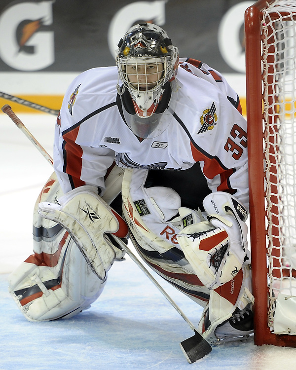 Philipp Grubauer of the Windsor Spitfires in the opening game of the 2010 MasterCard Memorial Cup in Brandon, MB. Photo by Aaron Bell/CHL Images