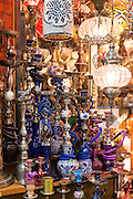 Hookah Turkish tobacco smoking water pipes nargile,and lamps in The Grand Bazaar market, Kapalicarsi, Beyazi, Istanbul, Turkey