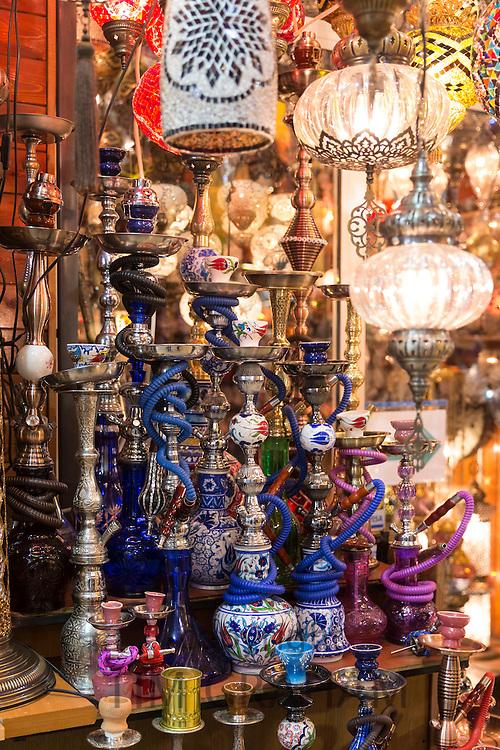 Hookah Turkish tobacco smoking water pipes nargile,and lamps in The Grand Bazaar market, Kapalicarsi, Beyazi, Istanbul, Turkey