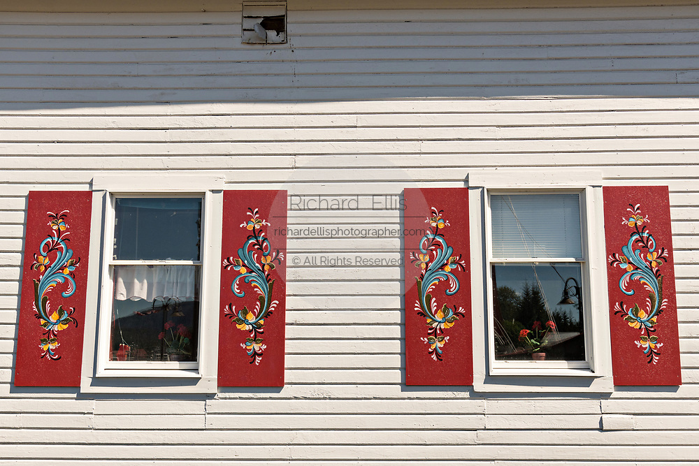 The Sons of Norway Hall Fedrelandet Lodge with painted rosemaling shutters in the tiny village of Petersburg on Mitkof Island, Alaska. Petersburg settled by Norwegian immigrant Peter Buschmann is known as Little Norway due to the high percentage of people of Scandinavian origin.