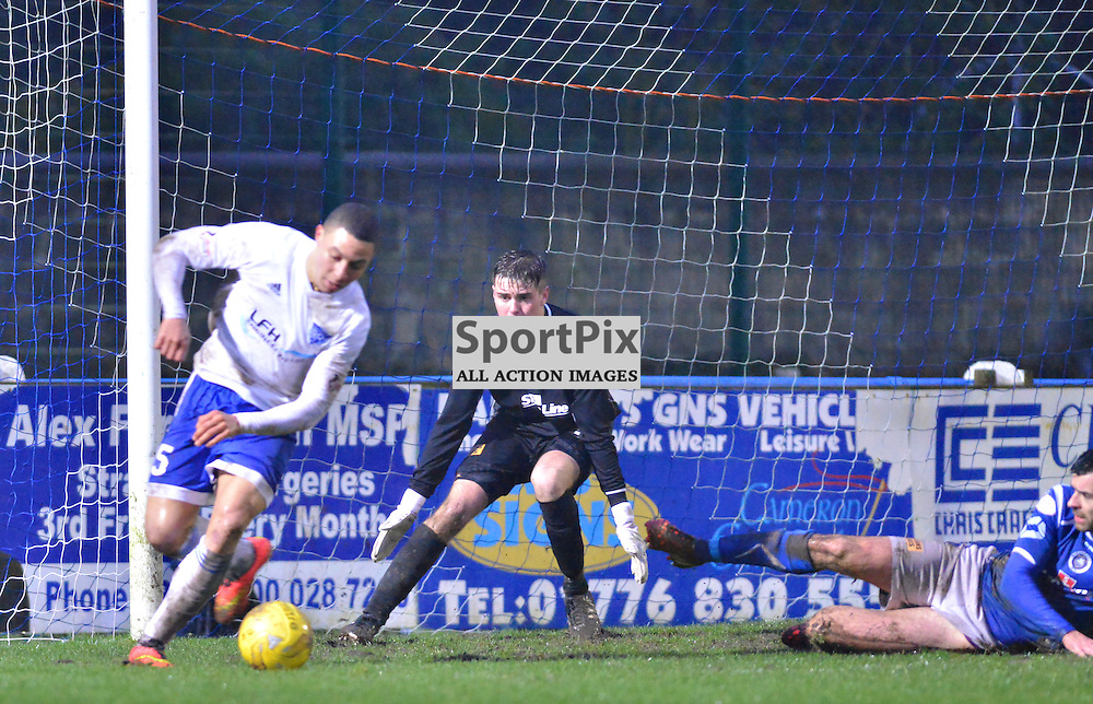 Job done - Peterhead's Leighton McIntosh on his way to notching his sides fifth goal at Stair Park......(c) BILLY WHITE | SportPix.org.uk