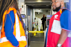 © Licensed to London News Pictures. 02/09/2019. London, UK. A forensics officer is works inside Elephant and Castle station after two men were found seriously injured following a stabbing last night.A murder investigation has been launched following the death of one of the victims.Photo credit: George Cracknell Wright/LNP