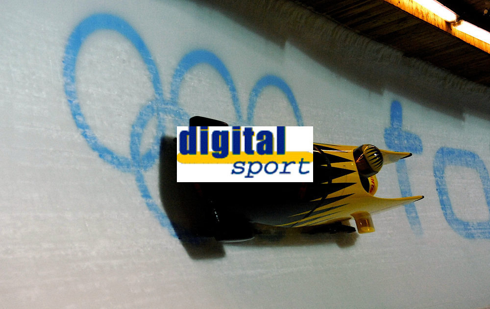Photo: Catrine Gapper.<br />Winter Olympics, Turin 2006. Womens Bobsleigh. 21/02/2006. <br />Swiss team finish in twelfth place.