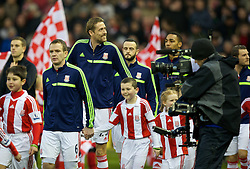 STOKE-ON-TRENT, ENGLAND - Sunday, January 12, 2014: Stoke City's Peter Crouch before the Premiership match against Liverpool at the Britannia Stadium. (Pic by David Rawcliffe/Propaganda)