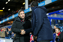 Bristol City manager Lee Johnson is greeted by Queens Park Rangers manager Jimmy Floyd Hasselbaink - Rogan Thomson/JMP - 18/10/2016 - FOOTBALL - Loftus Road Stadium - London, England - Queens Park Rangers v Bristol City - Sky Bet EFL Championship.