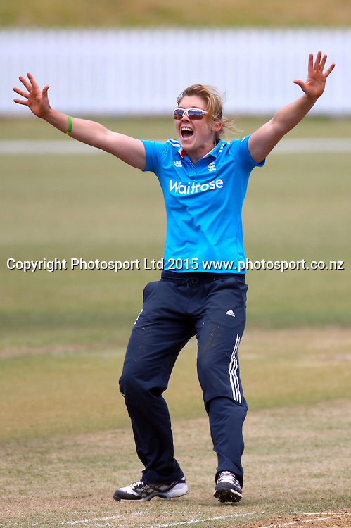 Englands Heather Knight appeals. 1st one day international, womens cricket match at Bay Oval, Mt Maunganui, 11 February 2015. Copyright Photo: Margot Butcher / www.photosport.co.nz