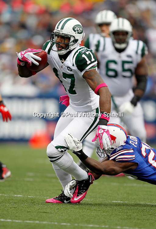 New York Jets wide receiver Braylon Edwards (17) catches a pass while covered by Buffalo Bills cornerback Drayton Florence (29) during a NFL week 4 football game against the Buffalo Bills on Sunday, October 3, 2010 in Orchard Park, New York. The Jets won the game 38-14. (©Paul Anthony Spinelli)