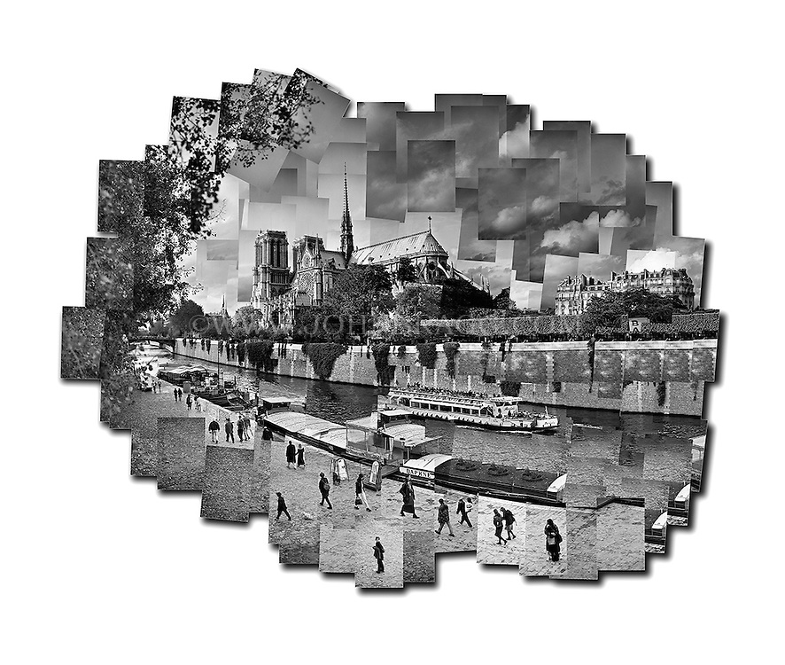 Black And White Photo Collage Of Notre Dame Cathedral Paris France