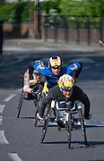 London. United Kingdom. 2014 London Marathon. Wheelchair race, Narrow Street Limehouse, East London. Athletics 09:57:27  Sunday  13/04/2014  [Mandatory Credit; Peter SPURRIER/ Intersport Images],