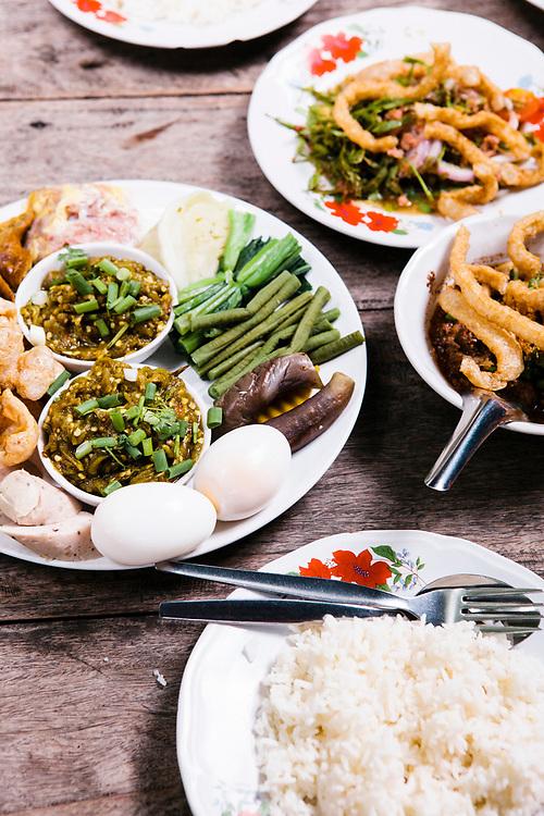 Chiang Mai sausage, green chili dip, pork skin and fresh vegetables at Tong Tem Toh - Northern Thai food. Chiang Mai