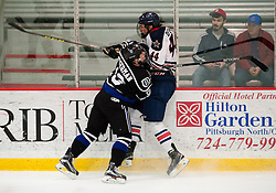 March 13 2016: Bentley Falcons defenseman Billy Eiserman (19) throws a check into Robert Morris Colonials forward Brandon Denham (44) during the first period in game three of the Atlantic Hockey quarterfinals series between the Bentley Falcons and the Robert Morris Colonials at the 84 Lumber Arena in Neville Island, Pennsylvania (Photo by Justin Berl)