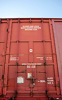 Close up of Industrial railway carriage door