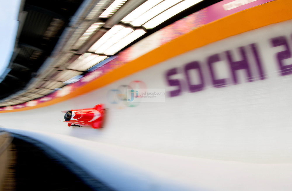 Bobsleigh: 2014 Winter Olympics: Patrice Servelle of Monaco pilots a run during a Men's Two-man Bobsleigh training session on day 6 of the Sochi 2014 Winter Olympics at the Sanki Sliding Center on February 13, 2014 in Sochi, Russia. (Photo by Jed Jacobsohn /Sports Illustrated)