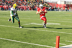 17 November 2012:  DeShawn Dinwiddie can't stop a touchdown run by Matt Brown during an NCAA Missouri Valley Football Conference football game between the North Dakota State Bison and the Illinois State Redbirds at Hancock Stadium in Normal IL