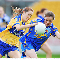 6 September 2008; Eimear Considine, Clare, in action against Antoinette Brady, Longford. TG4 All-Ireland Ladies Intermediate Football Championship Semi-Final - Clare v Longford, O'Connor Park, Tullamore, Co. Offaly. Picture credit: Brendan Moran / SPORTSFILE