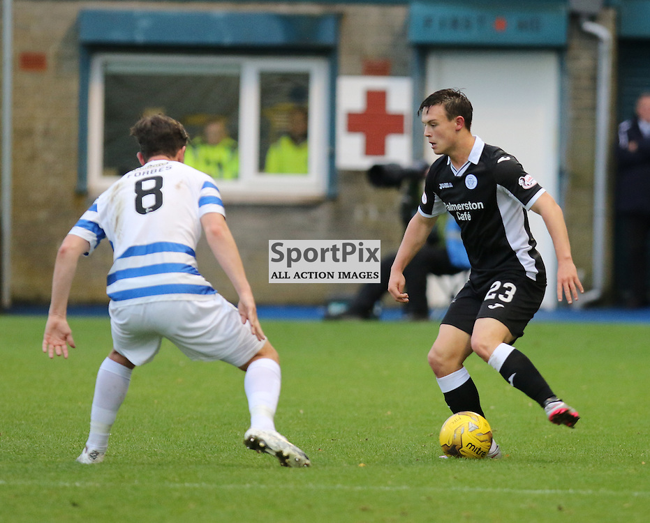 Ross Forbes watches Jordan Marshall closely during the Morton v Queen of the South Scottish Championship 14  November 2015 <br /> <br /> (c) Andy Scott | SportPix.org.uk