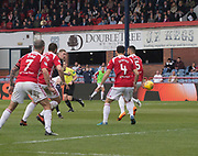 5th May 2018, Dens Park, Dundee, Scotland; Scottish Premier League football, Dundee versus Hamilton Academical; Kevin Holt of Dundee scores for 1-0