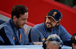 LIVERPOOL, ENGLAND - Wednesday, August 23, 2017: Liverpool's unused players goalkeeper Danny Ward and Danny Ings during the UEFA Champions League Play-Off 2nd Leg match between Liverpool and TSG 1899 Hoffenheim at Anfield. (Pic by David Rawcliffe/Propaganda)