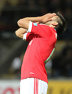 Portugal, FUNCHAL : Benfica's Argentine midfielder Salvio reacts  after missing a goal opportunity during Portuguese League football match Nacional vs Benfica at Madeira Stadium in Funchal on February 10, 2013.  PHOTO/ GREGORIO CUNHA..