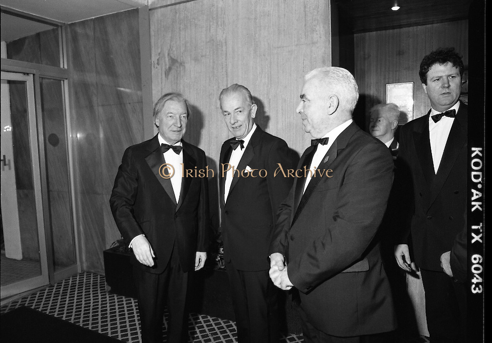 "B.O.I. GAA Allstars  (R96)..1989..03.02.1989..02.03.1989..3rd February 1989..The Awardsfor the B.O.I.Allstars were held tonight in the Burlington Hotel,Dublin. The list of the winnersis as follows..1989 - HURLING ALL STARS J. Commins (Galway), A. Fogarty (Offaly), E. Cleary (Wexford), D. Donnelly (Antrim), Conal Bonnar (Tipperary), B. Ryan (Tipperary), S. Treacy (Galway), M. Coleman (Galway), D. Carr (Tipperary), E. Ryan (Galway), Joe Cooney (Galway), O. McFetridge (Antrim), P Fox (Tipperary), Cormac Bonnar (Tipperary), N. English (Tipperary)."" 1989 - FOOTBALL ALL STARS Gabriel Irwin (Mayo), Jimmy Browne (Mayo), Gerry Hargan (Dublin), Dermot Flanagan (Mayo); Connie Murphy (Kerry), Conor Counihan (Cork), Anthony Davis (Cork); Teddy McCarthy (Cork), Willie Joe Padden (Mayo); Dave Barry (Cork) Larry Tompkins (Cork), Noel Durkin (Mayo); Paul McGrath (Cork), Eugene McKenna (Tyrone), Tony McManus (Roscommon).""..Image shows An Taoiseach, Charles Haughey,being greeted by Gaa and BOI officials as he arrives to present the Allstars Awards."