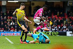 Max Gradel of Bournemouth jumps over Heurelho Gomes of Watford - Mandatory byline: Jason Brown/JMP - 27/02//2016 - FOOTBALL - Vicarage Road - Watford, England - Watford v Bournemouth - Barclays Premier League