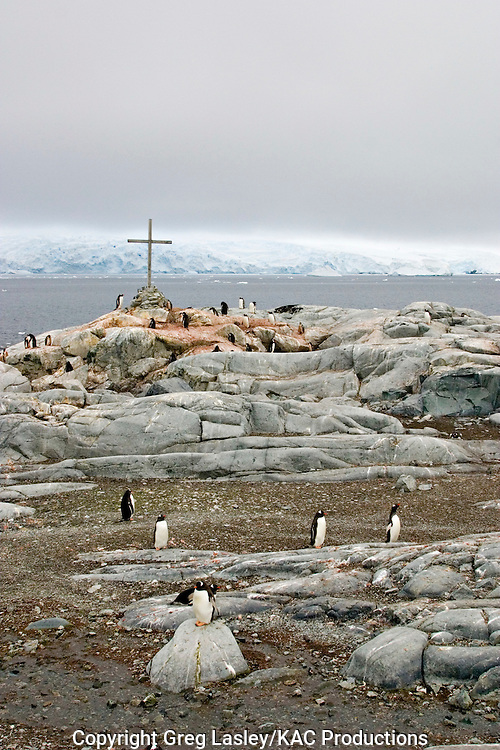 Peterman Island, Antarctica.The cross is a memorial to two scientists who died in the area sometime in the 1970s or 1980s.30 Januaey 2003