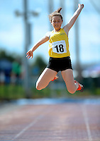 20 Aug 2016: Leah Nic Gairbhiigh, from Gweedore, Donegal.  Girls Long Jump U14.  2016 Community Games National Festival 2016.  Athlone Institute of Technology, Athlone, Co. Westmeath. Picture: Caroline Quinn