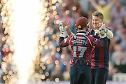 Josh Cobb and Ben Duckett celebrate the wicket of Alex Davies during the NatWest T20 Blast final match between Northants Steelbacks and Lancashire Lightning at Edgbaston, Birmingham, United Kingdom on 29 August 2015. Photo by David Vokes.