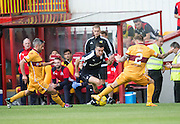 Dundee&rsquo;s Michael Duffy takes on Motherwell&rsquo;s Richard Tait - Motherwell v Dundee in the Ladbrokes Scottish Premiership at Fir Park, Motherwell. Photo: David Young<br /> <br />  - &copy; David Young - www.davidyoungphoto.co.uk - email: davidyoungphoto@gmail.com