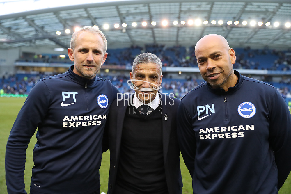 Brighton Assistant Manager, Paul Trollope, Brighton Manager, Chris Hughton, Brighton First Team Coach, Paul Nevin during the EFL Sky Bet Championship match between Brighton and Hove Albion and Bristol City at the American Express Community Stadium, Brighton and Hove, England on 29 April 2017.