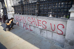 © Licensed to London News Pictures. 14/11/2018. London, UK. A vegan protestor spray paints a slogan at the Carriage Gate entrance to Parliament. Two people were arrested.Photo credit: Peter Macdiarmid/LNP