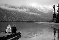 Kusawa Lake in black and white