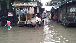 August 3, 2017 - Kolkata, West Bengal, India - Water Logged  Road after heavy Rain at Central Kolkata city on August 03,2017 in India. (Credit Image: © Debajyoti Chakraborty/NurPhoto via ZUMA Press)