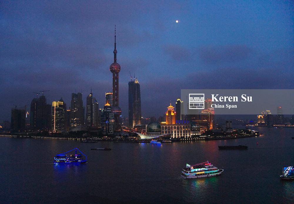 Night view of Pudong skyline, Shanghai, China