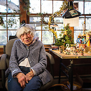 12/14/2012  CARLISLE, MA     Annette Petersen (cq) 93, sits at a workbench at Wee Forest Folk (cq) in Carlisle. The shop creates small handcrafted collectibles, primarily miniatures depicting mice.   (Aram Boghosian for The Boston Globe)