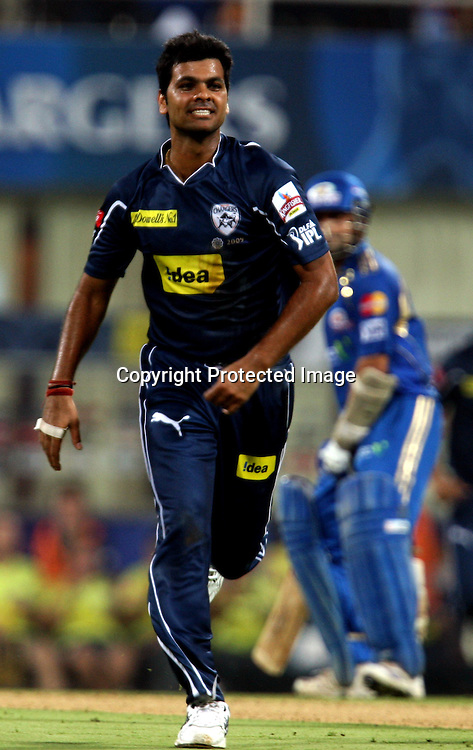 Deccan Chargers Bowler RP Singh Celebrates Mumbai Indians Batsman Soutav Tiwary Wicket During The Deccan Chargers vs Mumbai Indians, 25th Twenty20 match Indian Premier League- 2009/10 season Played at Dr DY Patil Sports Academy, Mumbai 28 March 2010 - day/night (20-over match)
