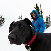 Mark Kogelmann and his great dane Marlow in the Cascade Mountains of Washington State.