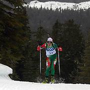Winter Olympics, Vancouver, 2010. Darya Domracheva, Belarus, finishing 8th in the Women's 7.5 KM Sprint Biathlon at The Whistler Olympic Park, Whistler, during the Vancouver  Winter Olympics. 13th February 2010. Photo Tim Clayton