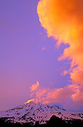 Vertical cloud formation at sunset over Mount Rainier, Mount Rainier National Park, Washington