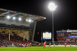 A blood red crescent moon can be seen in the background as Bristol Bears face Gloucester Rugby at the Kingsholm - Mandatory by-line: Ryan Hiscott/JMP - 14/09/2018 - RUGBY - Kingsholm - Gloucester, England - Gloucester Rugby v Bristol Bears - Gallagher Premiership