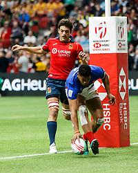 March 9, 2019 - Vancouver, BC, U.S. - VANCOUVER, BC - MARCH 09: Remi Siega #7 of France scores during Game #19- Spain 7s vs France 7s in Pool C match-up at the Canada Sevens held March 9-10, 2019 at BC Place Stadium in Vancouver, BC, Canada. (Photo by Allan Hamilton/Icon Sportswire) (Credit Image: © Allan Hamilton/Icon SMI via ZUMA Press)