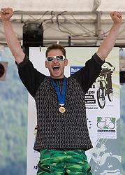 Medal ceremony of Masters 30-34 category:  third placed Dusan Leposa (SLO) at MTB Downhill European Championships, on June 13, 2009, at Kranjska Gora, Slovenia. (Photo by Vid Ponikvar / Sportida)