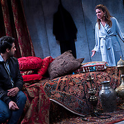 """July 10, 2015 - New York, NY : Karan Oberoi, left, and Alia Attallah perform in a dress rehearsal for Portland Center Stage<br /> and A Contemporary Theatre (ACT)'s presentation of Yussef El Guindi's """"Threesome"""" at 59E59 on Friday evening. CREDIT: Karsten Moran for The New York Times"""