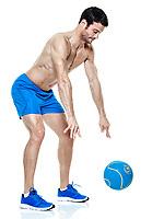 one caucasian man  exercising fitness Medicine Ball exercises isolated on white background