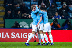 Kevin De Bruyne of Manchester City celebrates with teammates after scoring a goal to make it 1-0 - Mandatory by-line: Robbie Stephenson/JMP - 18/12/2018 - FOOTBALL - King Power Stadium - Leicester, England - Leicester City v Manchester City - Carabao Cup Quarter Finals