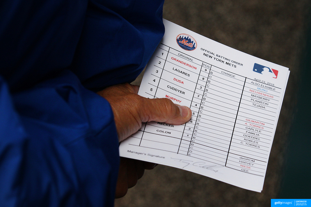 New York Mets Manager Terry Collins with the starting line up in his hand before the New York Mets Vs Atlanta Braves MLB regular season baseball game at Citi Field, Queens, New York. USA. 23rd April 2015. Photo Tim Clayton