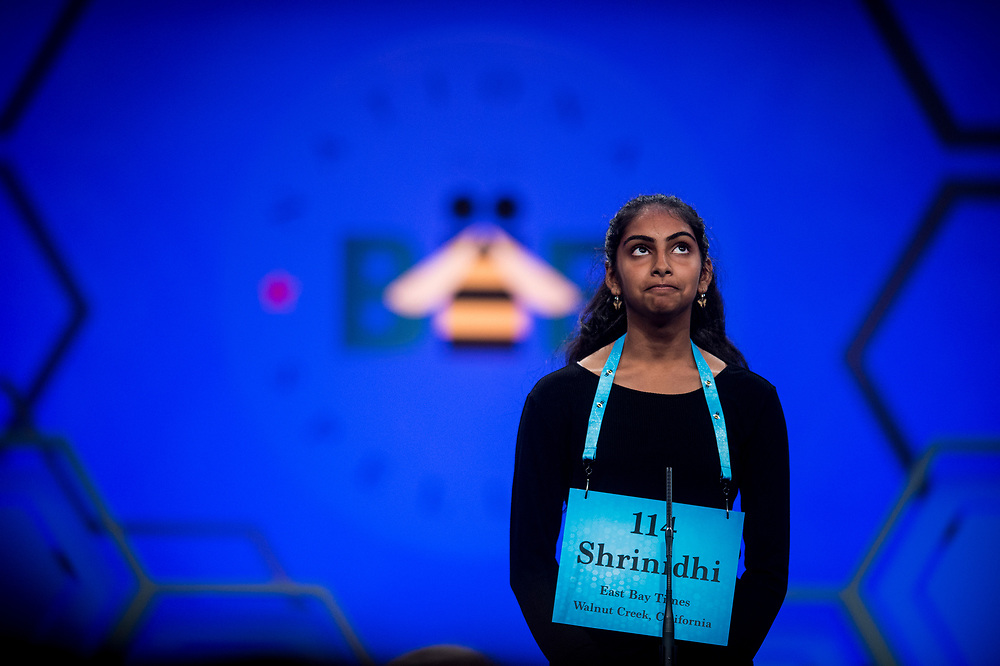 Shrinidhi Gopal, 13, from San Ramon, Calif., participates in the finals of the 2017 Scripps National Spelling Bee on Thursday, June 1, 2017 at the Gaylord National Resort and Convention Center at National Harbor in Oxon Hill, Md.      Photo by Pete Marovich/UPI